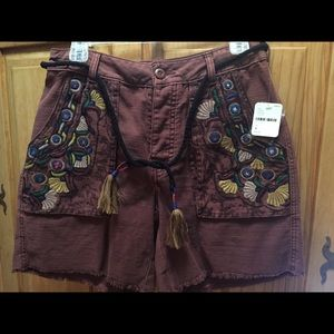 Free People Embroidered Shorts Size 4